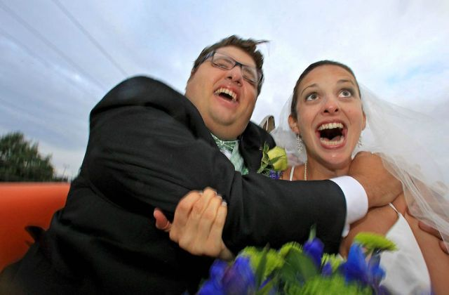 This roller coaster wedding picture