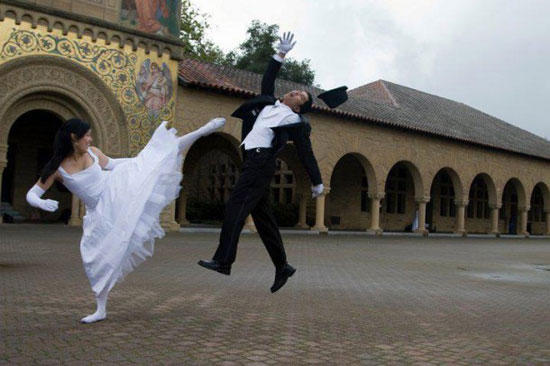 high kick wedding picture