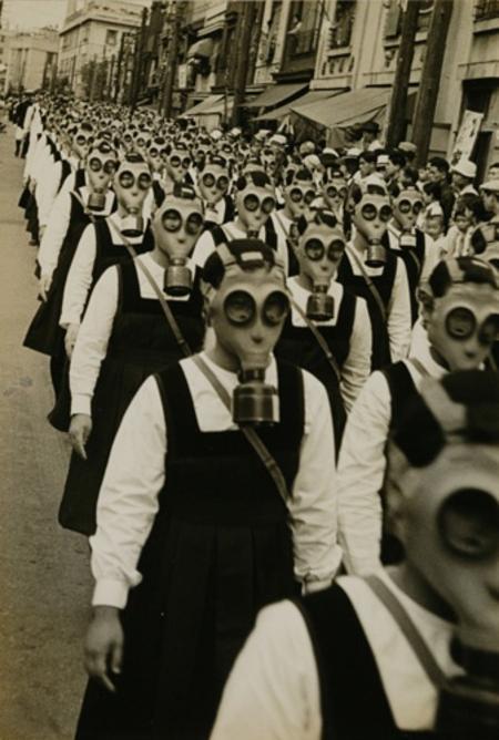Gas Mask Parade, Tokyo, by Masao Horino. 1936-1939