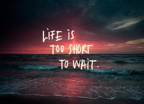 Life is too short to wait quotes