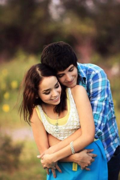 cute couple hugs