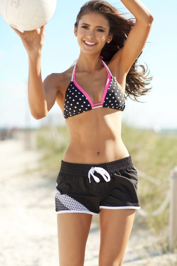 nina dobrev in bikini playing beach vollyball