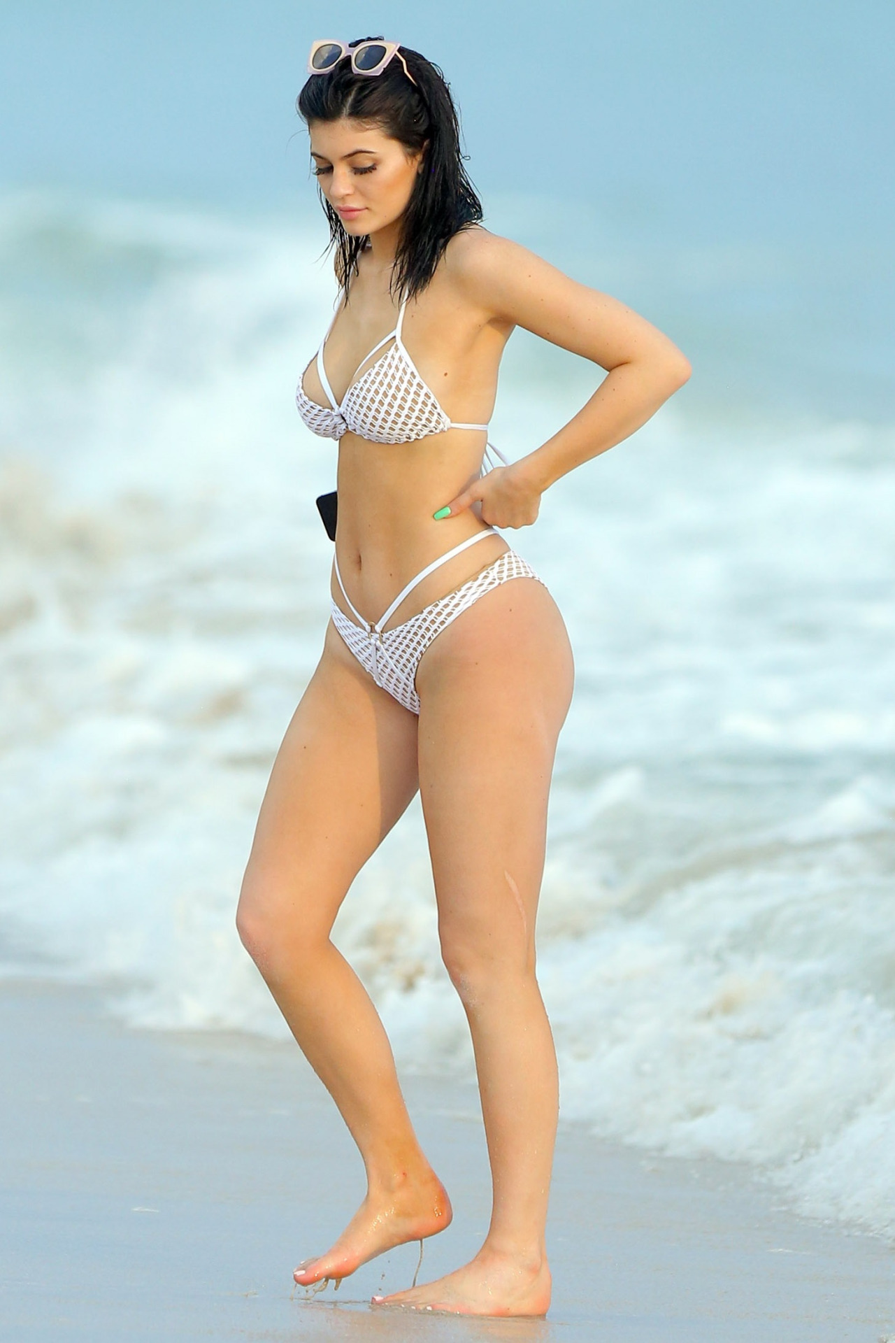Kylie Jenner looks stunning in white bikini